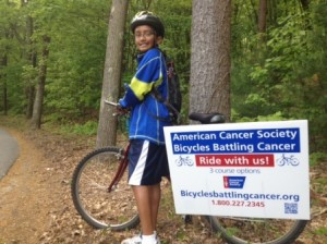 Mohan John trains on one of the routes of the upcoming Bicycles Battling Cancer, in which he will ride with his father, Aju. Photo/submitted