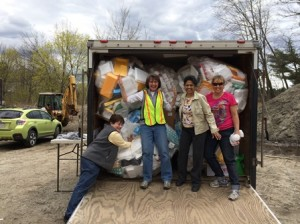 Northboro Junior Woman's Club members (l to r) Mary Kemp, Jane Walsh, Kalyani Padhy and Cheryl Silverberg declare the ReFoamIt truck filled to capacity with PS6 foam for recycling. (Photo/Courtesy of Jane Walsh)