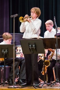 Michael McGlynn solos on the trumpet during the Central District Junior Jazz Festival.