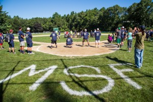 Mark Fidrych's initials were displayed prominently on the field as members of the Miracle League of Massachusetts throw out the first pitch at the Make Your Mark softball tournament.