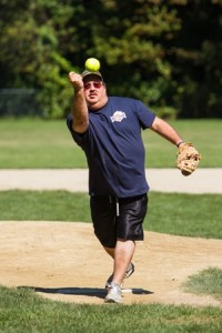 Rob Berger of Northborough throws a pitch for the Lowe's Variety and Meat Market team.