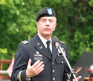 State Rep. Harold Naughton Jr. speaks at the Howard Street Cemetery. A major in the U.S. Army Reserve, Naughton has served tours of duty in Iraq and Afghanistan.