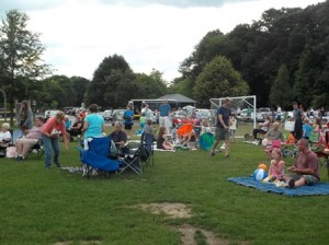 Northborough families enjoy a summer concert at Ellsworth McAfee Park.