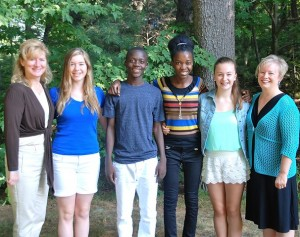 Gathered prior to a visit to Boston are (l to r) Jill Smith Earley; her daughter Lilly, 14; Patrick Carrier, 18; Rose Kermine Chery, 19; Lauren Earley, 14; and her mother Marillyn. Photo/Ed Karvoski Jr.