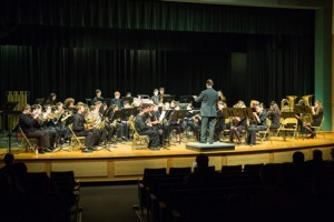 Algonquin's ninth-grade concert band, led by Eric Vincent, performs at the festival.