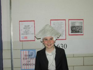 Fifth grader Nolan Byron dressed in Colonial America costume was a tour guide for the Peaslee School's event celebrating Northborough's 250th.