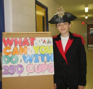 Fifth grader Trevor Kerxhalli dressed as General Marquis de Lafayette from the American Revolution and was a tour guide for the evening.