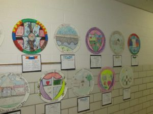Fourth grade's exhibit showcasing student ideas for a new Northborough town seal.