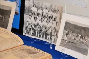 Decades of school memorabilia is displayed.
