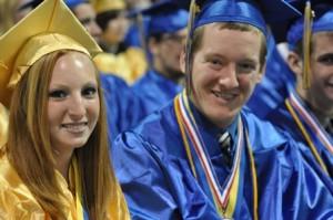 Valedictorian Ashley Peck, of Hudson, and Salutatorian Tyler Chaulk, of Shrewsbury, wait for their diplomas.