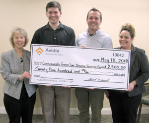 (l to r) Ellen O'Leary, Westborough teller, Avidia Bank; Andrew Kinsman, Westborough teller, Avidia Bank; David McMahon, program director, Commonwealth Green Low Income Housing Coalition; and Rhiannon Hernandez, Westborough assistant vice president, market manager, Avidia Bank. Photo/submitted