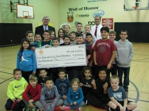 (l to r) Francis X. Hurley, president of the Boys & Girls Clubs of MetroWest; Keith Dwinells, Hudson branch manager of Avidia Bank; and members of the club Photo/submitted