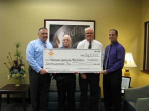 (l to r) Don Frost, senior vice president, Residential Lending, of Avidia Bank; Len Raymond, executive director of HOME; Mark R. O'Connell, president and CEO of Avidia Bank; and Keith Dwinells, Hudson Branch manager of Avidia Bank.