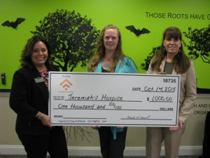(l to r) Rhiannon Hernandez, AVP market manager for the Westborough Branch of Avidia Bank; Janelle Wilson, executive director of Jeremiah's Hospice; and Christine Mauro, Westborough assistant branch manager for Avidia Bank Photo/submitted