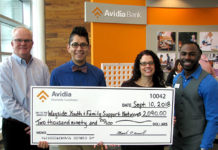 (l to r) Mark O'Connell, President and CEO of Avidia Bank; Nicolas Kane, development manager of Wayside Youth and Family Support Network; Kim Ward, senior program director of MetroWest Community Services of Wayside Youth and Family Support Network; Jeremy Brandon, Framingham AVP market manager of Avidia Bank. Photo/submitted