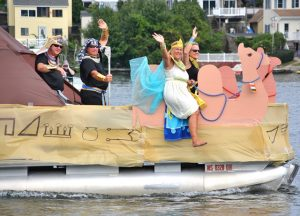 Riding on the first-place boat with an Egyptian theme are (l to r) Hays Williams, Scott Schedin, Jessica Schedin and Diane Williams. Photos/Ed Karvoski Jr.