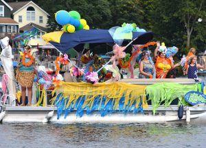 The Ladies of the Boat Club wear festive attire as they pay tribute to Brazil.