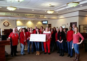 Central One Federal Credit Union employees wear red to support the American Heart Association. Photo/submitted