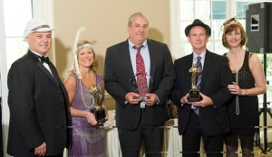 (l to r) Corridor Nine Chair Steve Anderson; Chairman's Award recipient Deborah Penta, PENTA Marketing; Eli Whitney Business of the Year Award recipient Michael Hogan, Knight's Airport Limousine Service; Ambassador of the Year Award recipient Jimmie Ames, Avidia Bank; and Corridor Nine President Karen Chapman.
