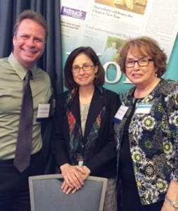 (l to r) David Bagdon, publisher, Community Advocate; Alice Bonner, PhD, RN, Mass. secretary of elder affairs; and Barbara Clifford, sales coordinator, Community Advocate pose for a photo at the Corridor Nine Business Expo Photo/Community Advocate