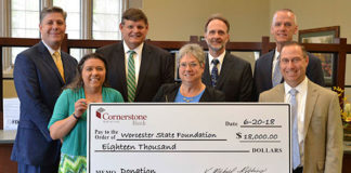 (back, l to r) Worcester State President Barry M. Maloney; Cornerstone Bank Chairman and CEO K. Michael Robbins and EVP, Chief Operating Officer and Chief Lending Officer Randal D. Webber; Worcester State Vice President of University Advancement Thomas M. McNamara; (front, l to r) Cornerstone Bank EVP, Chief Administrative Officer and Chairman of the Charitable Donations Committee Susan A. Gunnell; Worcester State Dean, School of Education, Health and Natural Sciences Linda S. Larrivee; and Cornerstone Bank President and Treasurer Todd M. Tallman Photo/submitted