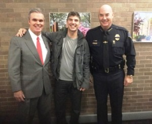 Worcester District Attorney Joseph D. Early Jr., speaker John Morello and Worcester State Police Chief Mike Nockunas