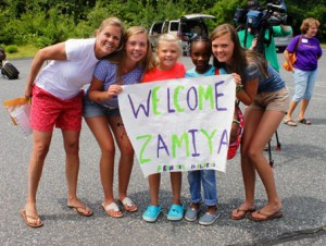 The Holden family welcomes eight-year-old Zamiya to their home.