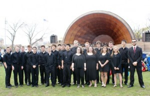 The Algonquin Regional High School Jazz I ensemble poses at the Hatch Shell. Photo/submitted