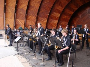 The Marlborough High School Jazz Ensemble takes the stage of the Hatch Shell.