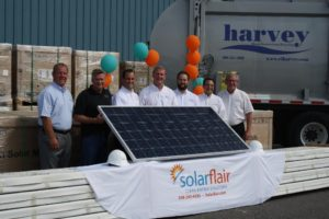 (l to r) - Ben Harvey, executive vice president, E.L. Harvey; Jeff Constantine, vice president, operations, SolarFlair Energy; Dan Greenwood, vice president, business development, SolarFlair Energy; Steve Harvey, executive vice president,  E.L. Harvey;  , Matt Arner, president, SolarFlair Energy; Dean Polymeros, CFO, E.L. Harvey; and Doug Harvey, executive vice president, E.L. Harvey. (Photo/submitted)