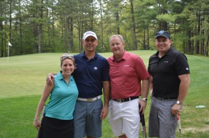 (l to r) - Jessica Georgenes of Westborough, Robert Daigneault of Northborough, Marty Greenwald of Northborough, and Rich Locke of Southborough were among those recognized by Jimmy Fund Golf at its season kickoff event May 12 at The International Golf Club in Bolton.