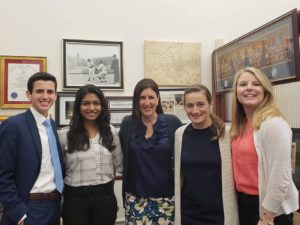 (l to r): Jack Durkin, Aarthi Gopalan, Representative Hannah Kane, Amy Tournas and Jessica Beliveau Photos/submitted