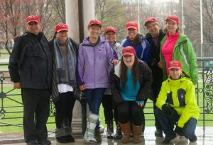 Gathered at Boston Common during a past Congenital Heart Walk are members of the event committee including Kim Edgren, chair, with her partner Karen Fortin (third and fourth from left), her mother Dolores Edgren, and her sister Pennie Robinson (far right).