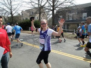 Meredith Kent running in the 2013 Boston Marathon, at the top of Heartbreak Hill. (Photo/submitted)