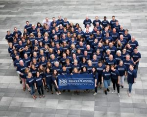 Mirick O'Connell attorneys and professional staff show their pride in celebration of the firm's 100th anniversary.