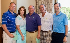 The winning golf team of (l to r) Robert Kuftinec, Jeanette Clough, Mount Auburn Hospital president and CEO, Steve Furlong, Joe Pelgrin, and Chris Kardos with Jeanette Clough, Mount Auburn Hospital president and CEO. (Photo/submitted)