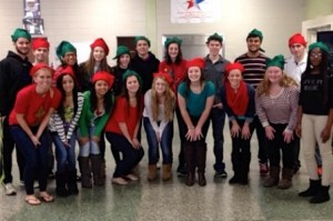 The AVRHS Student Council at a holiday party with kids from Maynard Boys and Girls Club (President Amy Saunders: bottom row, fourth from left). (Photo/submitted)