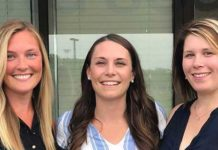(l to r) Caitlin Murphy, DPT, Katharine Budra, DPT, and Melanie Kozik, PTA, LMT in front of their new clinic in Auburn. Photo/Caitlin Murphy