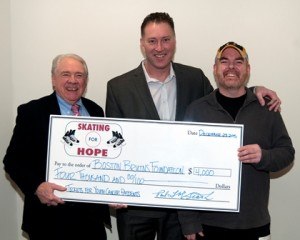 (l to r) Paul McGrath, Bob Sweeney, director of development, Boston Bruins Foundation, and Dave McGrath