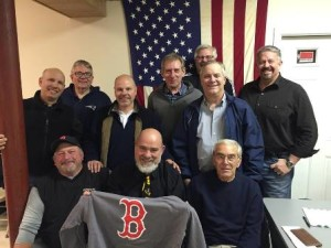 Sweats for Vet president and founder Mark Vital (front, center with sweatshirt) is surrounded by members of the Marlborough chapter of the American Hellenic Educational Progressive Association, who contributed over 90 sweatshirts this year for homeless veterans. Photo/submitted