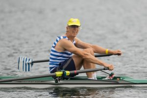 Paul Dale, Riverside Boat Club of Cambridge, rows back to shore after completing his heat at the USRowing Masters Nationals.