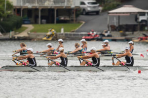 The Saugutuck Rowing Club (Westport, Conn. ) Women's Straight Four team competes in their heat at Lake Quinsigamond.
