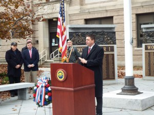State Rep. Matt Beaton, R-Shrewsbury,  addresses the crowd at a ceremony held in front of the Forbes Municipal Building in Westborough Nov. 11.