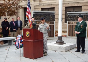 U.S. Air Force Col. Brent French addresses the crowd at a ceremony held in front of the Forbes Municipal Building in Westborough Nov. 11.