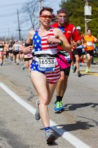 Cynthia Cirri of Hamilton, N.J. runs in a patriotic outfit.
