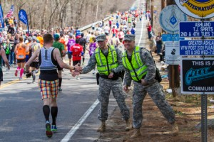 Runners thank the police as they head into Ashland.