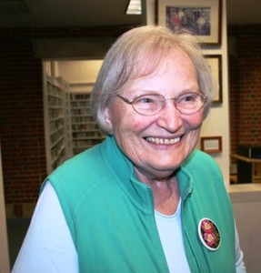 3.Southborough Gardener Phyllis Bezanson, who painted flowers on the club's pins