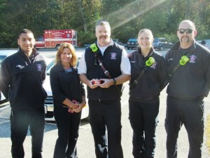 ( l to r) Firefighter Edgar Vigil, Lynne Moreno, the director of the Southborough Housing Authority, Lt. Chris Dano, Firefighter Brittanie Doane, and Firefighter Danny Martins