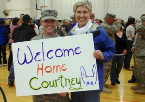 Capt. Courtney Wilson and Debbie Depp Wilson pose for a photo at the Joint Base Lewis-McChord in March 2011. Courtney and approximately 300 other soldiers arrived at the base after serving a year in Afghanistan. Photo/courtesy Debbie Depp Wilson