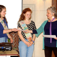 (l to r) Kathryn Gowdy and Shannon Provencal of Girl Scout Troop 85160 receive a special award from Debbie Costine, vice president of the Southborough Open Land Foundation. Photo/submitted